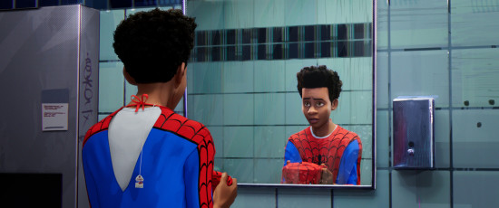Miles Morales (Shameik Moore) in SPIDER-MAN: UN NUOVO UNIVERSO (Columbia Pictures e Sony Pictures Animation)